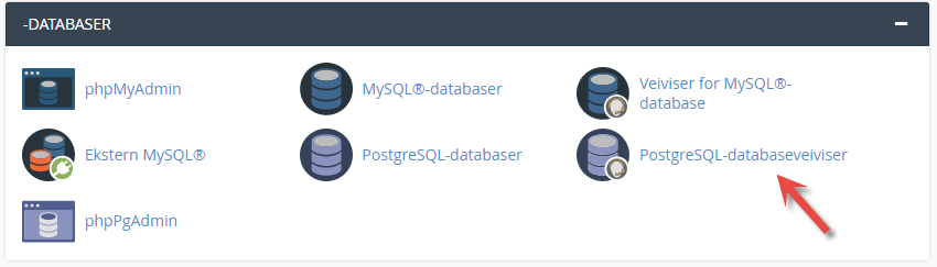 Veiviser for opprettelse av PostgreSQL database i cPanel