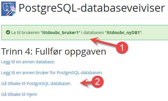 Fullført å legge til bruker til PostgreSQL database i cPanel
