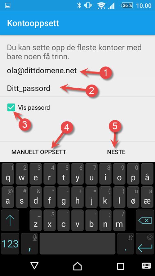 Legg inn brukernavn og ditt passord