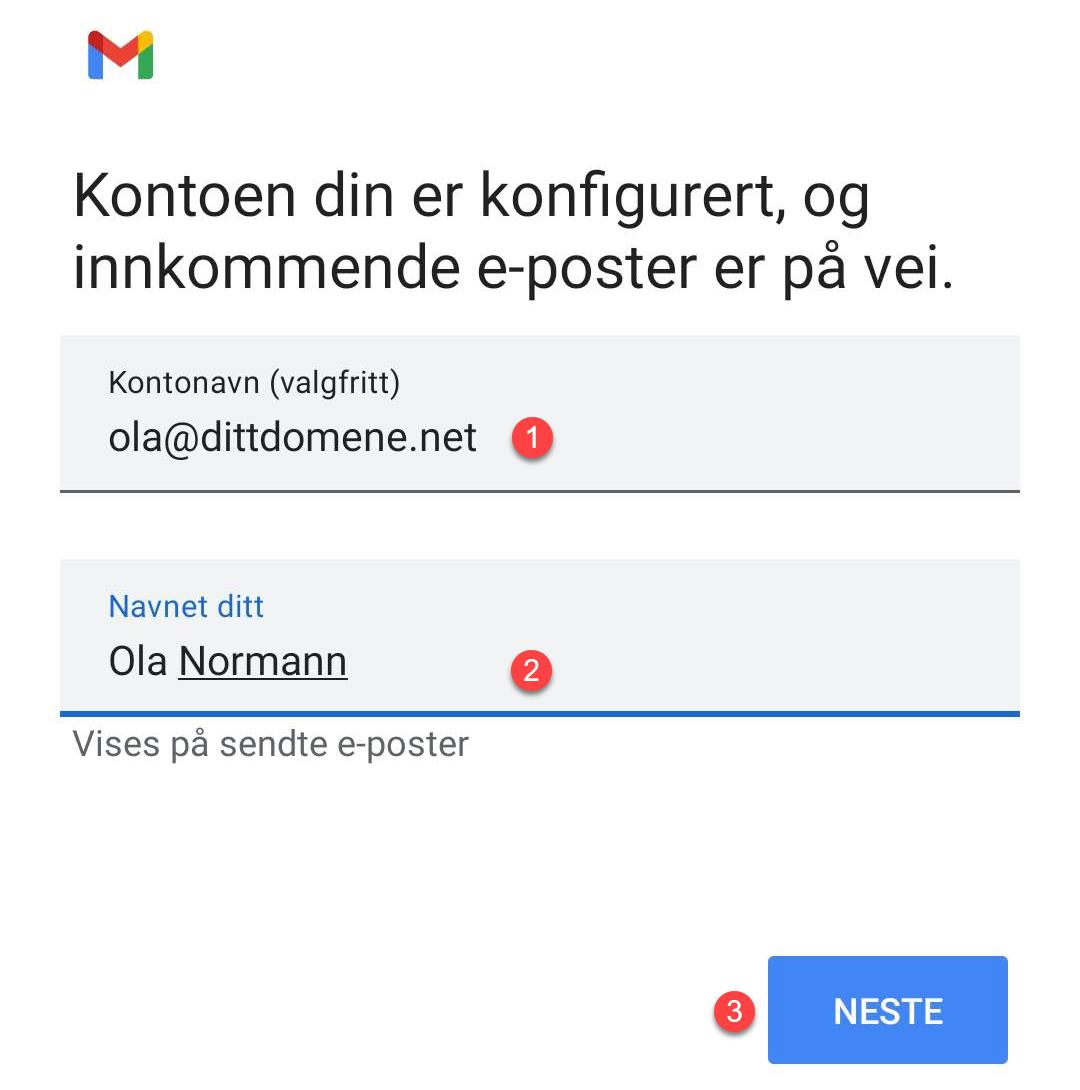 Fullført epost oppsett i Gmail App for Android