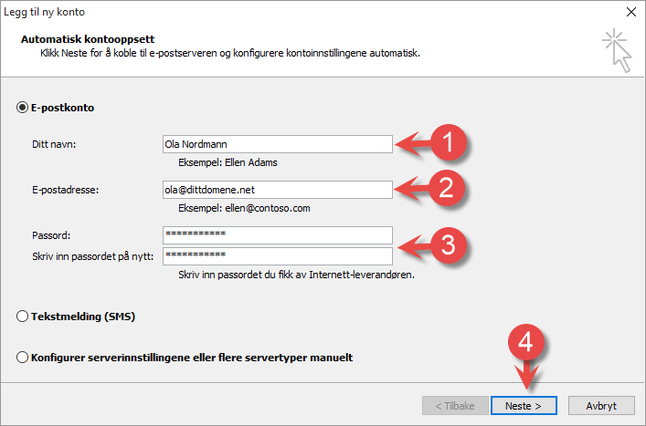 Add new account - Outlook 2010