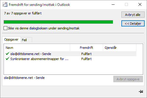 test konto oppsett - outlook 2010