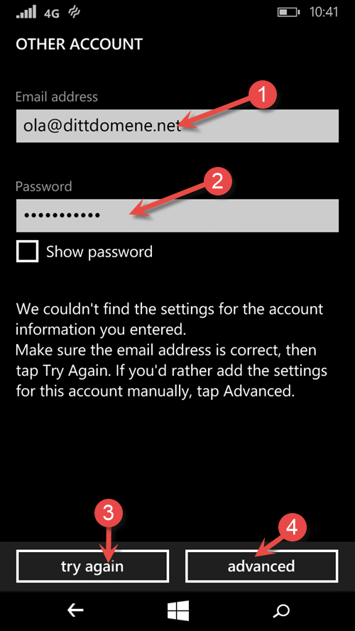 User name and password Windows Phone