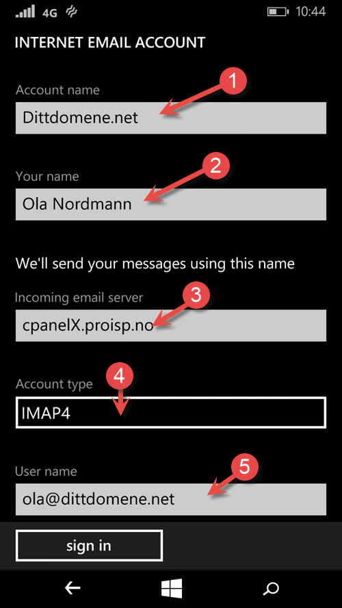 Account information for email in Windows Phone