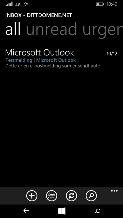 Email account setup in Windows Phone complete