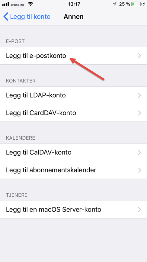 oppsett epostkonto iphone ipad 04
