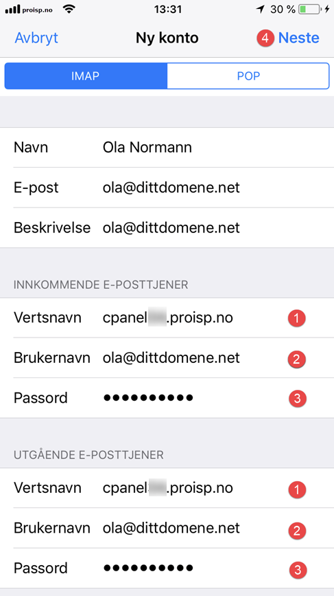 IMAP/POP3 oppsett - iPhone og iPad