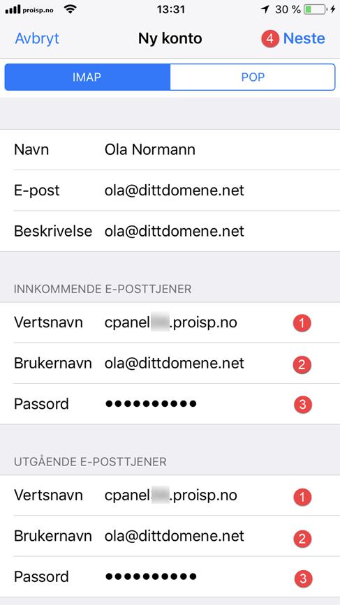 IMAP/POP3 oppsett - iPhone og iPad