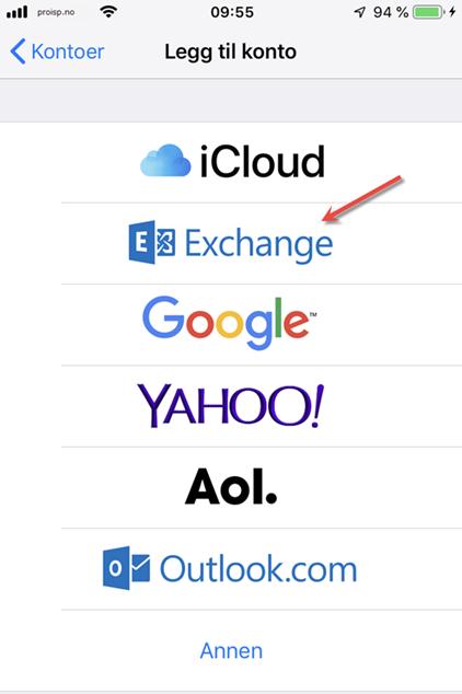 Exchange under konto iPhone