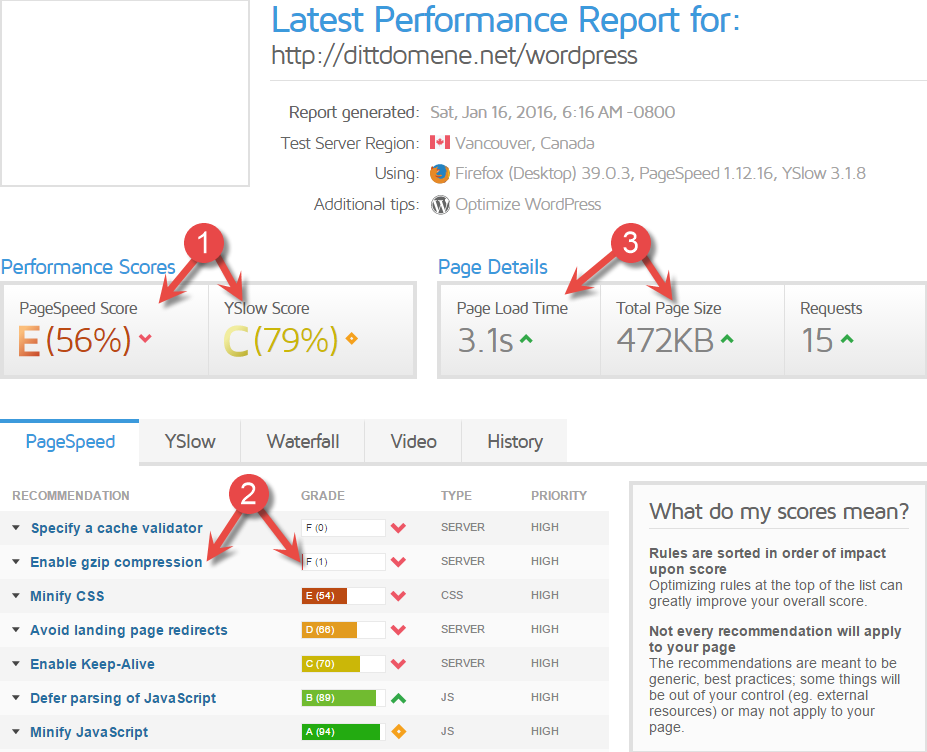 GTMetrix performance report for a WordPress site
