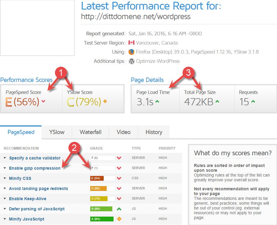 GTMetrix ytelses rapport for WordPress nettside