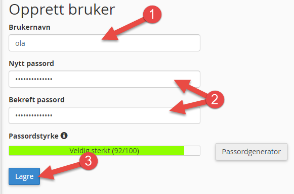 Opprett bruker for passordbeskyttet mappe