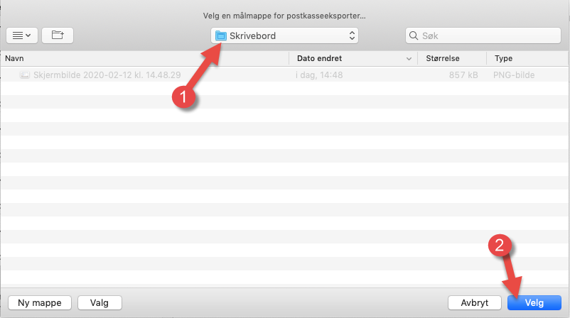 Velg plassering for backup av e-postene i Apple Mail