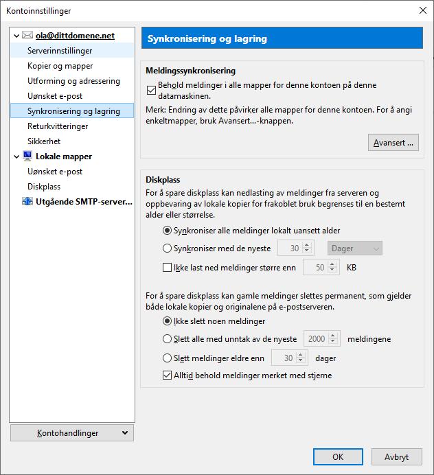 IMAP synkronisering av innhold i Thunderbird