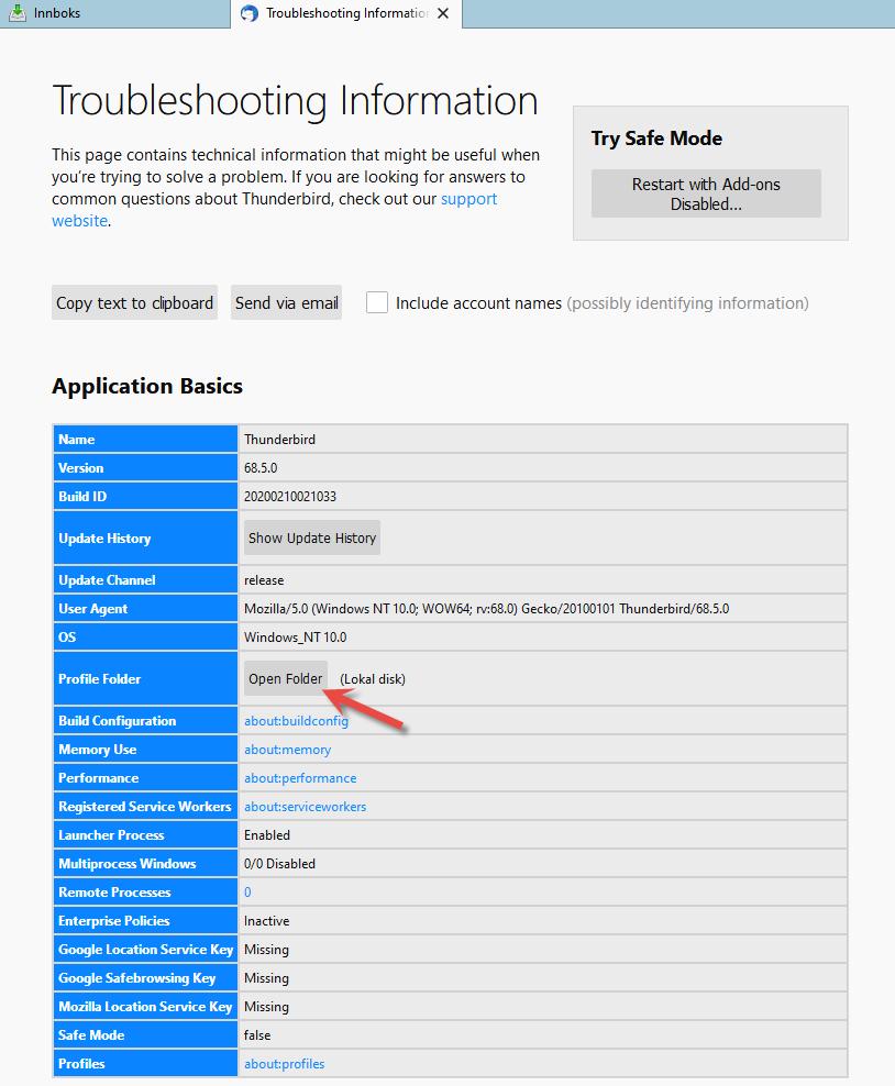 Åpne mappe for profil i Thunderbird