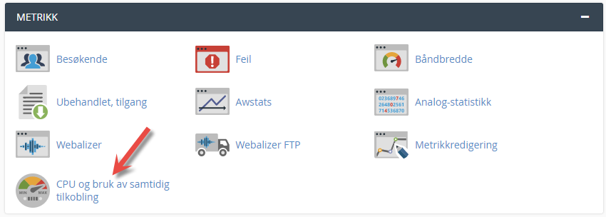 Click to see overview of your consumption of resources for your web hosting account