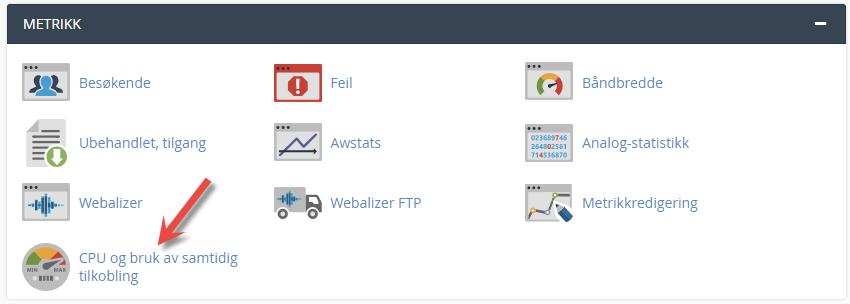 Se oversikt over ditt ressursbruk for webhotellet