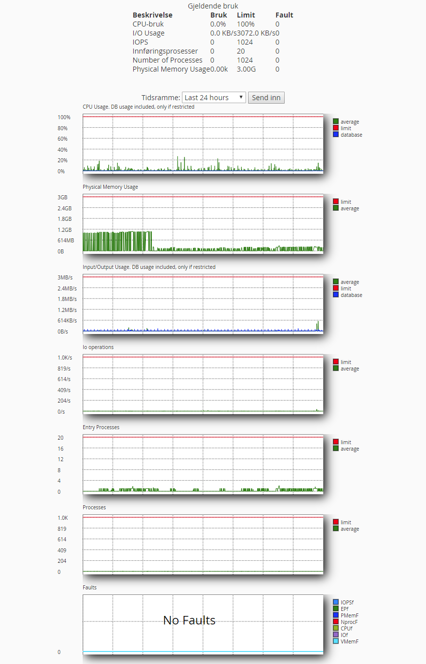 Grafer som viser ressursbruk av minne,cpu,i/o,besøkende etc.