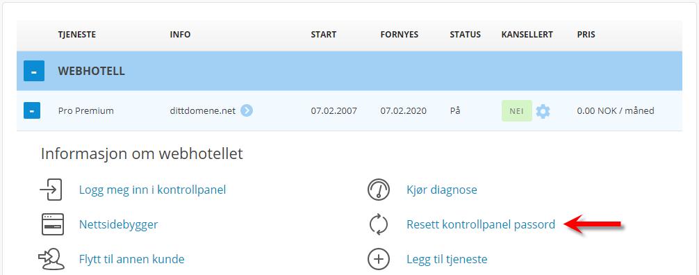Klikk på resett cPanel passord