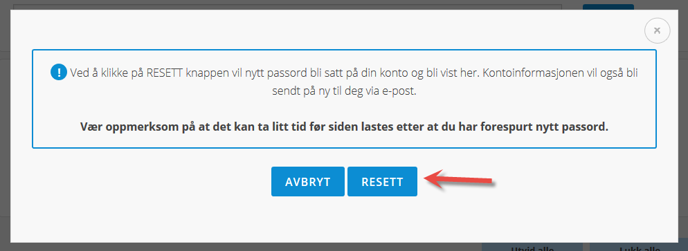 Klikk på resett knappen