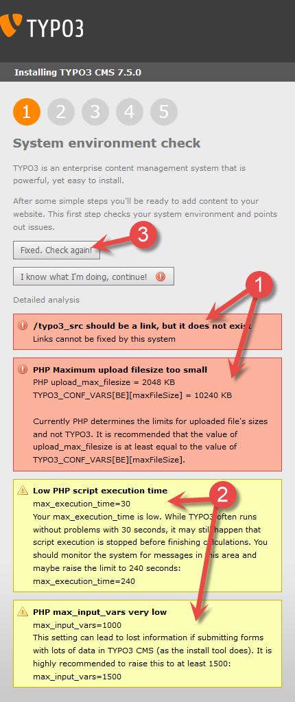 Installering av Typo3 - Systemsjekk