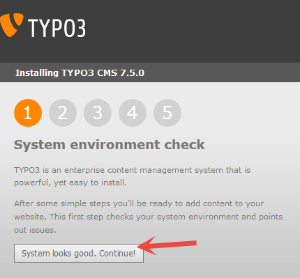 Typo3 installation - System environment check OK
