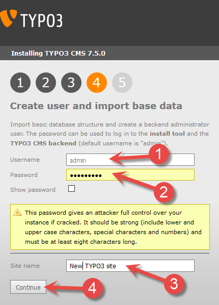 Typo3 installation - Create user and import base data