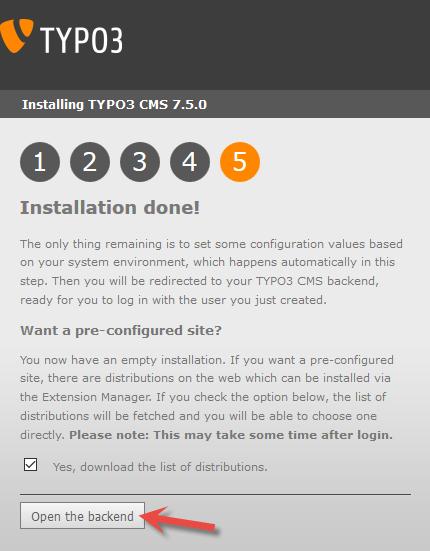 Installering av Typo3 - Fullført installering