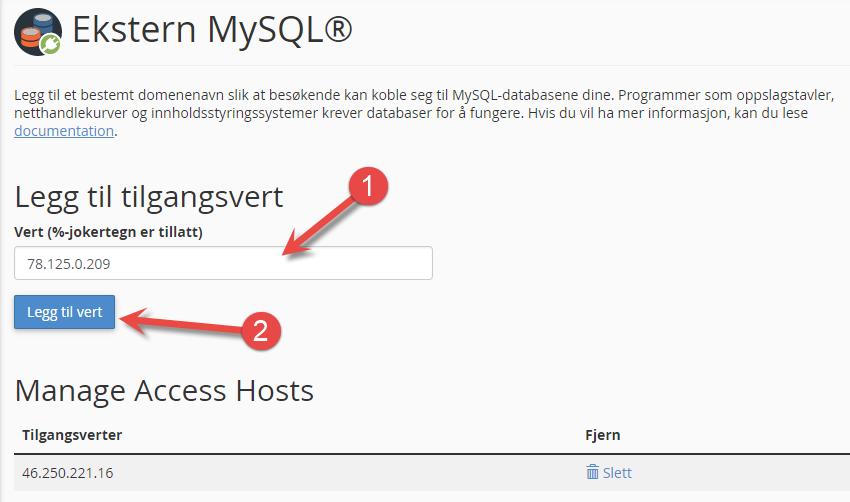 Legge til ip som kan koble seg til MySQL fra ekstern maskin/server